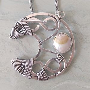 Jewelry - Beautiful rustic biwa pearl hand crafted necklace